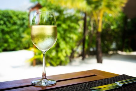 Glass with cold white wine on wooden table on tropical background Stock Photo