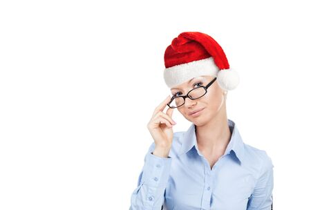 Businesswoman in santa helper hat isloted on white background with glasses in hand  Banco de Imagens