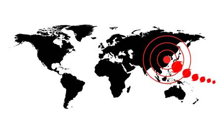 Dangerous occurrence in China. World map illustration with red accident sign