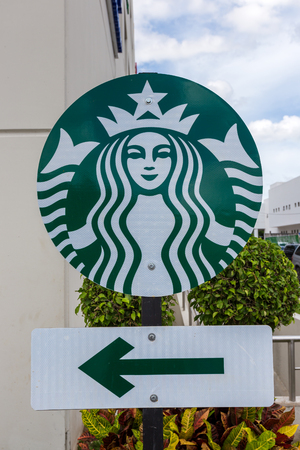 Cancun, Mexico, 9 February 2016: Starbucks sign at downtown of Cancun city. Starbucks is the largest coffeehouse company in the world