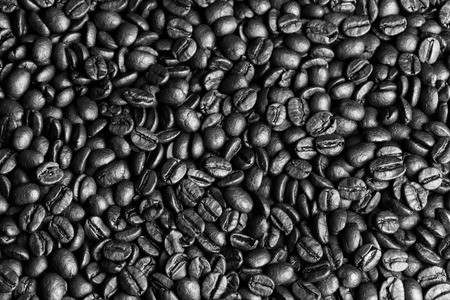 Coffee beans background, Closeup