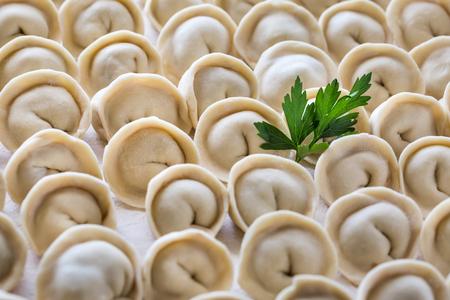 Homemade meat dumplings, closeup. Russian traditional meal