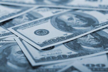 Dollar banknotes background. Closeup