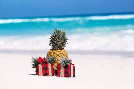 Tropical celebration on beach, present boxes and fresh pineapple  Stock Photo