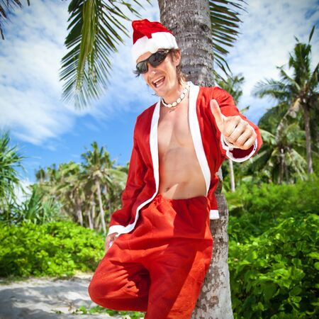 Santa Claus in tropic paradise