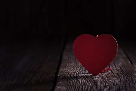 Heart shape on rustic wooden table  Stock Photo