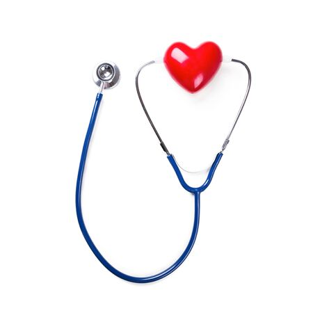 Doctor stethoscope and madel of heart on white background, closeup. Nobody