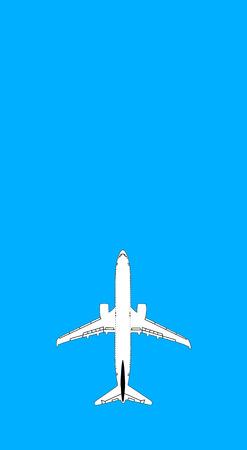 illustration of white airplane on blue background, closeup Фото со стока - 96847326