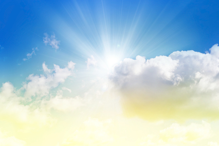 Easter concept background, sunlight beam in cloud sky, copy space for text