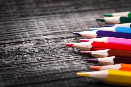 Colour pencils on wooden background with copy space, Nobody. Back to school Stock Photo