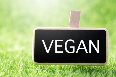 Sign VEGAN on mockup board over green grass background, closeup