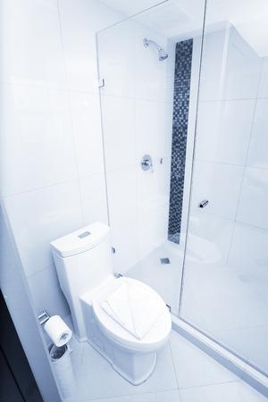 White toilet in a bathroom tiled interior. Blue tone