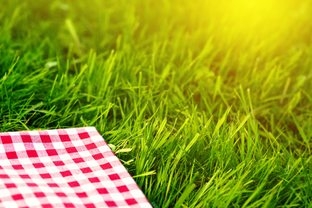 Red checkered tablecloth background with green grass bokeh, copy space, mock up