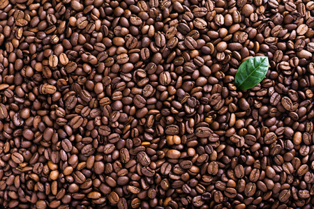 Roasted beans background, board frame with coffee grains, concept menu card, top view, copy space