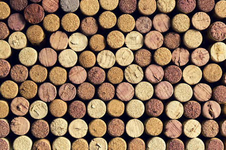 Background pattern of wine bottle corks, winery texture, food concept and top view