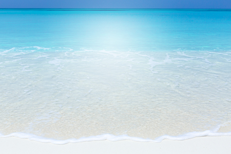 Tropical beach scene of azure crystal sea with soft waves, wild untouched seashore with copy space. Stock Photo