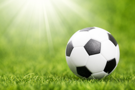 Soccer ball on green grass field closeup