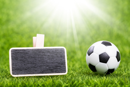 Soccer ball and mockup board on green grass, closeup