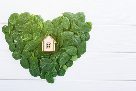 Model of wooden eco house on green leaves heart shape, ecological concept