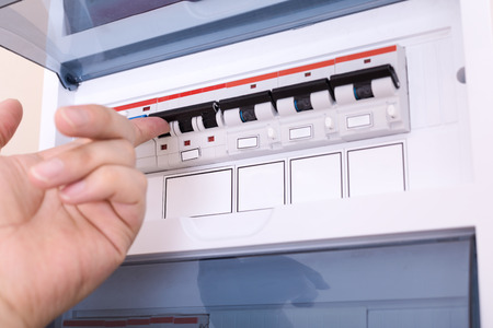 RCD circuit breaker board. Fusebox at the apartment Stock Photo