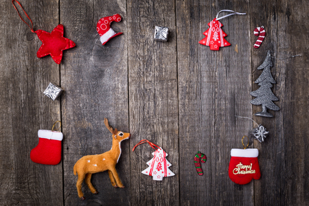 Christmas objects on wooden background, nobody. Winter holidays celebration