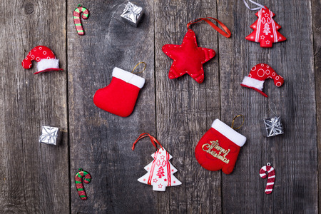 Christmas and new year objects on wooden background, nobody. Winter holidays celebration