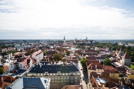 Aerial view of cityscape, old town with historical central streets in Tallinn, Estonia Banco de Imagens