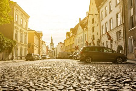 TALLINN, ESTONIA - 4 SEPTEMBER 2017: Streets and houses at old Town, no people Editorial