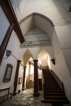 TALLINN, ESTONIA - SEPTEMBER 4, 2017: Church building interior. Inside, nobody