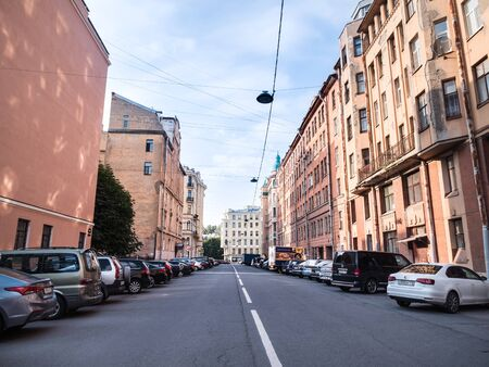 Russia, Saint-Petersburg - 7 September 2018: Zayachiy Pereulok with cars and no people. It is center of the city