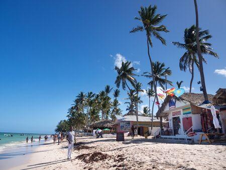 Bavaro, Punta Cana, Dominican Republic - 19 December 2018: Ola Souvenirs is shop on beach with different Souvenir goods