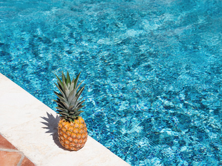 Pineapple near swimming pool at poolside. Creative food and travel concept card Stock Photo