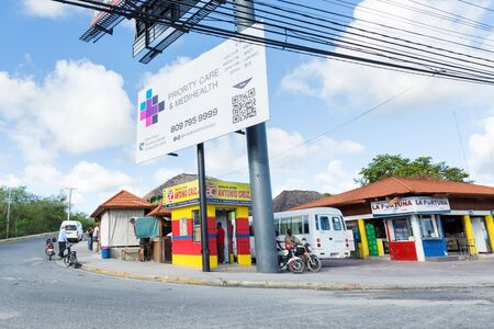 BAVARO, PUNTA CANA, DOMINICAN REPUBLIC - 19 JANUARY 2019: Typical caribbean shops at downtown