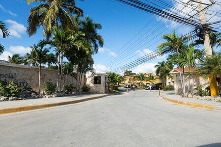 BAVARO, PUNTA CANA, DOMINICAN REPUBLIC - 19 JANUARY 2019: Residential Costa Bavaro. Typical caribbean residence entrance Editorial