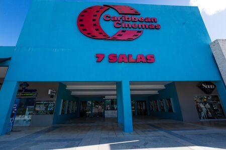 BAVARO, PUNTA CANA, DOMINICAN REPUBLIC - JANUARY 19, 2019: Caribbean Cinemas 7 Salas at Sanjuan shopping center plaza