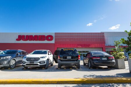 BAVARO, PUNTA CANA, DOMINICAN REPUBLIC - 19 JANUARY 2019: Jumbo shop entrance. It is a famous and large retail supermarket Editorial