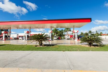 BAVARO, PUNTA CANA, DOMINICAN REPUBLIC - 19 JANUARY 2019: Texaco gasoline station with Techron and Diesel Editorial