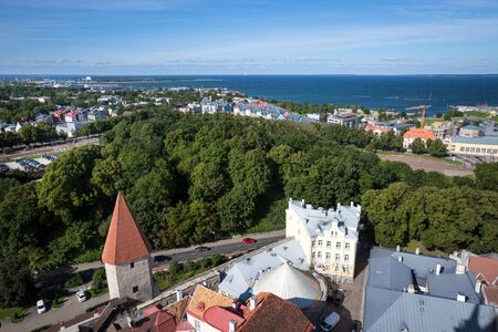 Aerial view of cityscape, old town with historical central streets in Tallinn, Estonia