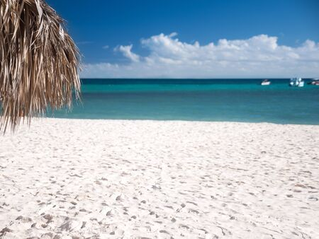 Tropical shore with thatched palapa. View on caribbean sea, nobody