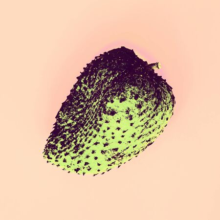 Closeup of green soursop graviola, exotic, tropical fruit Guanabana on pink background. Contemporary art collage. Abstract surrealism and minimalism