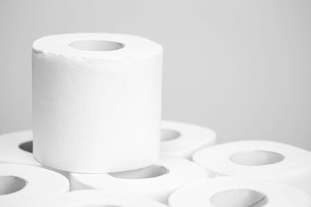 Toilet paper closeup on white background. Nobody