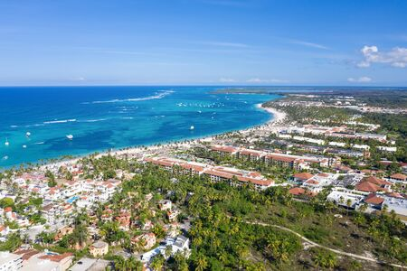 Aerial view from Caribbean sea coastline with resorts. Dominican Republic