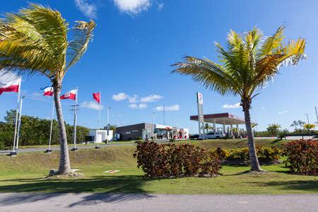 BAVARO, PUNTA CANA, DOMINICAN REPUBLIC - 19 JANUARY 2019: Total gasoline station