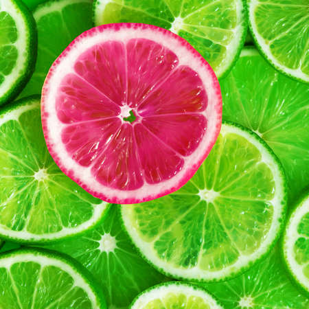 Citrus fruits slices pattern texture background, lime, lemon and oranges flat lay 免版税图像