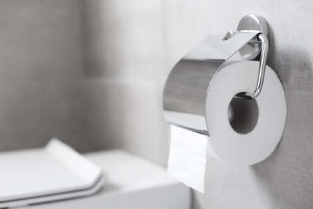 Roll of white toilet paper hanging on metal toilet-paper holder at restroom, nobody 免版税图像