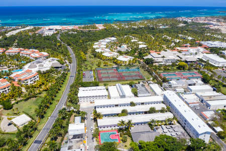 Aerial view frome drone on caribbean city near tropical beach. Summer vacations. Travel destinations Imagens