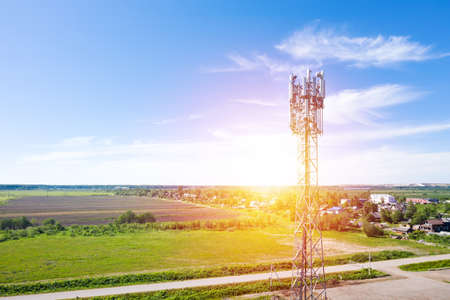 Cellular GSM tower with transmitter. Communication antenna. Future technology