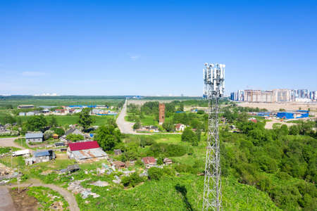 Cellular GSM tower with ransmitter. Communication antenna. Future technology