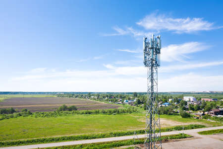 Cellular GSM tower with 3g, 4g, 5g transmitter. Communication antenna. Future technology