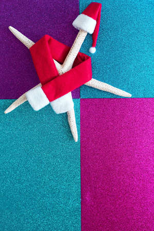 Summer travel concept. Star fish in Christmas decoration flat lay on creative color background, top view